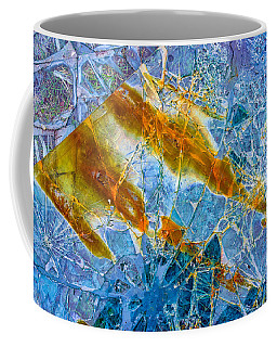 Coffee Mug featuring the photograph Broken Glass Abstract Art Blue And Orange by Matthias Hauser