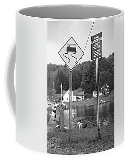 Coffee Mug featuring the photograph Brookfield, Vt - Floating Bridge 2 Bw by Frank Romeo