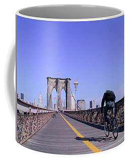 Brooklyn Bridge Bicyclist Coffee Mug