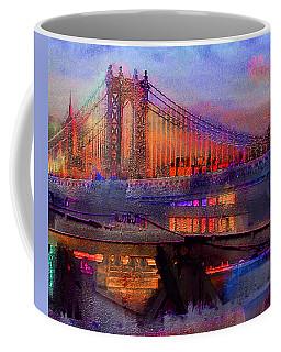 Coffee Mug featuring the digital art Brooklyn Bridge by Iowan Stone-Flowers