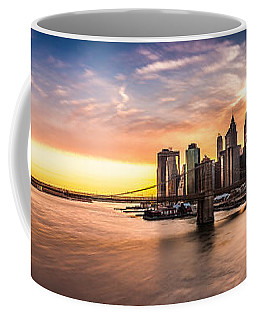 Brooklyn Bridge Panorama Coffee Mug by Mihai Andritoiu