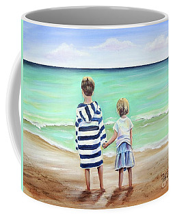 Coffee Mug featuring the painting Brother And Sister by Patricia Piffath