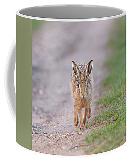 Brown Hare Approaching Down Track Coffee Mug