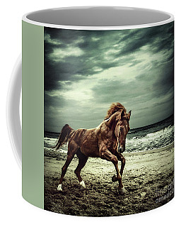 Brown Horse Galloping On The Coastline Coffee Mug
