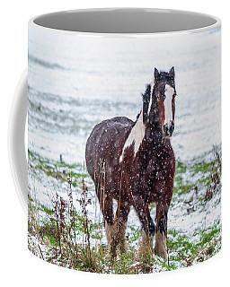 Brown Horse Galloping Through The Snow Coffee Mug