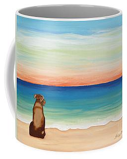 Brown Lab Dog On The Beach Coffee Mug