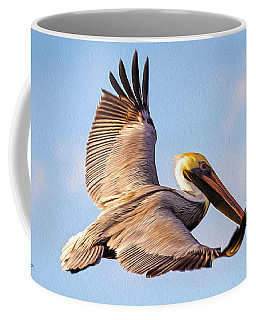 Brown Pelican In Flight - Two Coffee Mug