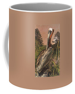 Coffee Mug featuring the painting Brown Pelican by John Dyess