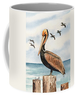 Coffee Mug featuring the painting Brown Pelicans by Sam Sidders