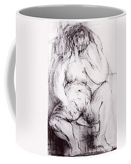 Coffee Mug featuring the sculpture Brownie Sitting by Robert F Battles