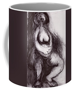 Coffee Mug featuring the sculpture Brownies's Mother / Sitting by Robert F Battles