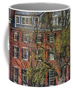 Coffee Mug featuring the photograph Brownstone Panoramic - Beacon Street Boston by Joann Vitali