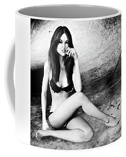 Brunette In Lingerie Black And White Coffee Mug
