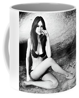 Brunette In Lingerie Black And White Coffee Mug