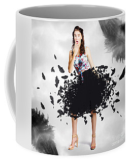 Brunette Pin-up Woman In Gorgeous Feather Skirt Coffee Mug