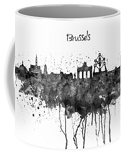 Brussels Black And White Skyline Silhouette Coffee Mug