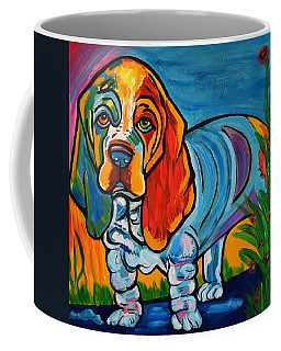 Coffee Mug featuring the painting Bubba   Basset Hound by Nora Shepley