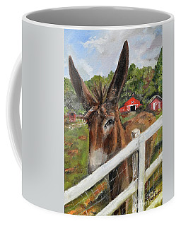 Coffee Mug featuring the painting Bubba - Steals The Show -donkey by Jan Dappen
