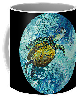 Coffee Mug featuring the painting Bubble Surfer On Black by Darice Machel McGuire