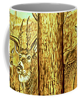 Coffee Mug featuring the pyrography Buck And Deer  by Patricia L Davidson