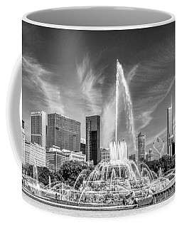 Buckingham Fountain Skyline Panorama Black And White Coffee Mug