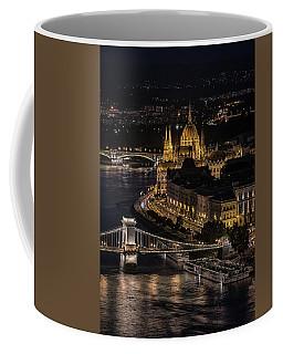 Budapest View At Night Coffee Mug by Jaroslaw Blaminsky