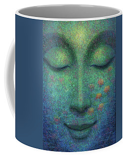Coffee Mug featuring the painting Buddha Smile by Sue Halstenberg