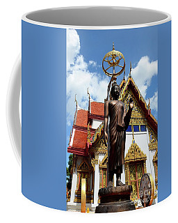 Buddha Statue With Sunshade Outside Temple Hat Yai Thailand Coffee Mug