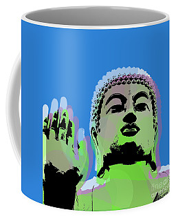 Coffee Mug featuring the digital art Buddha Warhol Style by Jean luc Comperat