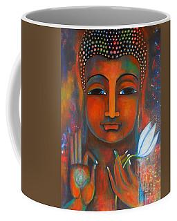 Buddha With A White Lotus In Earthy Tones Coffee Mug by Prerna Poojara