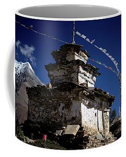 Buddhist Gompa And Prayer Flags In The Himalaya Mountains, Nepal Coffee Mug