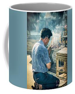 Coffee Mug featuring the photograph Buddhist Way Of Praying by Heiko Koehrer-Wagner