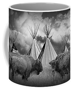 Buffalo Herd Among Teepees Of The Blackfoot Tribe Coffee Mug