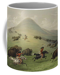 Coffee Mug featuring the relief Buffalo Hunt by George Catlin