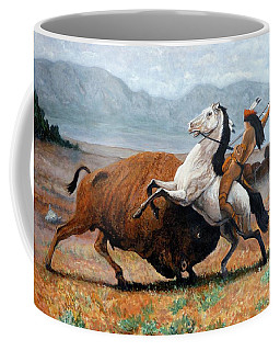 Coffee Mug featuring the painting Buffalo Hunt by Tom Roderick