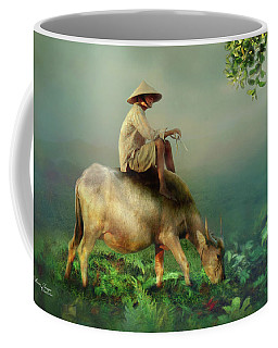 Coffee Mug featuring the photograph Buffalo In The Mist by Wallaroo Images