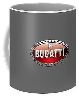 Bugatti - 3d Badge On Black Coffee Mug by Serge Averbukh