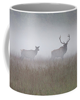 Bull And Cow Elk In Fog - September 30 2016 Coffee Mug