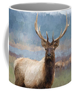 Bull Elk By The River Coffee Mug