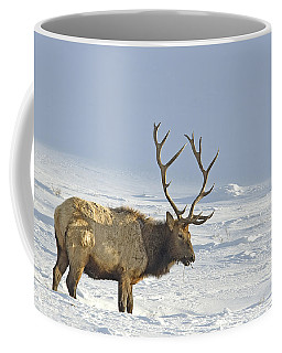 Bull Elk In Snow Coffee Mug
