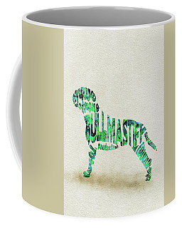 Coffee Mug featuring the painting Bullmastiff Watercolor Painting / Typographic Art by Ayse and Deniz