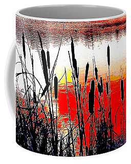 Bullrushes Against The Sunset Coffee Mug