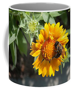 Bumble Bee Collecting Pollen On Sunflower Coffee Mug