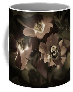 Bumblebee On Blush Country Rose In Sepia Tones Coffee Mug