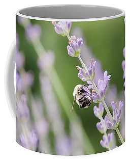 Coffee Mug featuring the photograph Bumblebee On The Lavender Field 2 by Andrea Anderegg