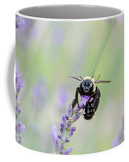 Coffee Mug featuring the photograph Bumblebee On The Lavender Field by Andrea Anderegg