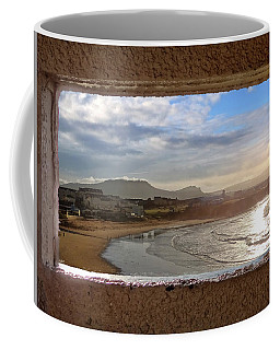 Bundoran And The Dartry Mountains Framed In The Window Of The Rougey Walk Shelter Coffee Mug
