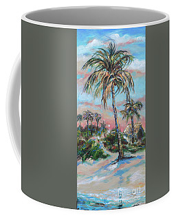 Coffee Mug featuring the painting Bungalow By Lagoon by Linda Olsen