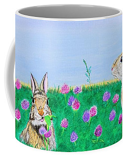 Bunnies In Clover Coffee Mug