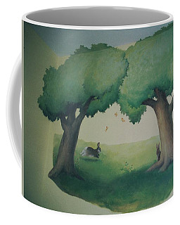 Bunnies Running Under Trees Coffee Mug